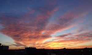 朝霞から見える朝焼け